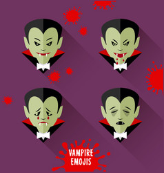 set of vampire emojis for halloween vector image vector image