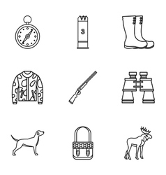 Shooting at animals icons set outline style vector image vector image
