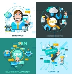 Customer Support Concept Icons Set vector image