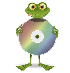 Frog and CD vector image vector image