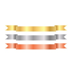gold silver bronze ribbons with texture vector image