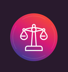 Scales icon linear style risk concept vector