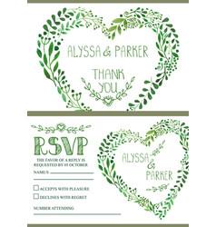 wedding invitation setwatercolor green branches vector image vector image