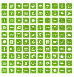100 dispatcher icons set grunge green vector