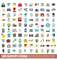 100 society icons set flat style vector