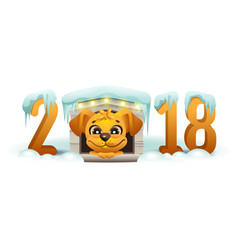 2018 year of yellow dog in chinese calendar vector image