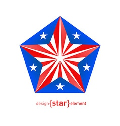 3d abstract star with Puerto Rico flag colors vector image