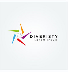abstract colorful star diversity logo sign symbol vector image