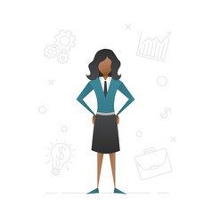 afro-american student girl flat character design vector image
