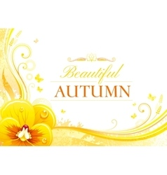 Autumn background with pansies flower falling vector