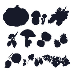 Autumn crop silhouettes vector