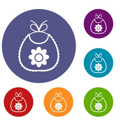baby bib icons set vector image