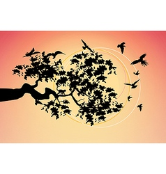 beautiful picture with the birds vector image