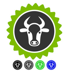 Beef certificate seal flat icon vector