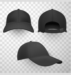 black baseball caps realistic vector image