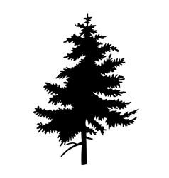 Black silhouette fir-tree christmas tree vector
