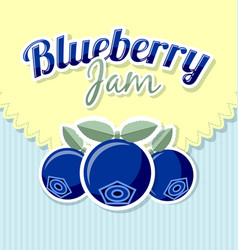 Blueberry jam label with title on striped vector