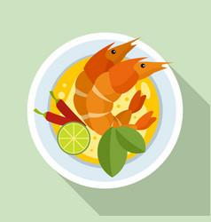 Boiled shrimp thai icon flat style vector
