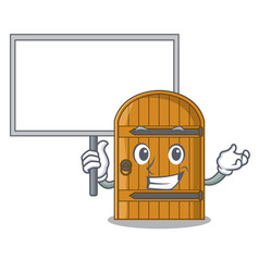 Bring board cartoon wooden door massive closed vector