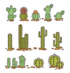 Cacti in the desert elements vector