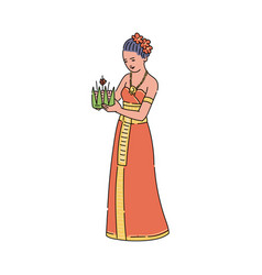 cartoon woman in traditional thailand dress vector image