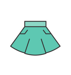 Casual wear mini skirt filled color outline vector