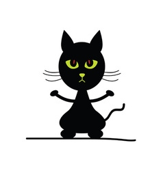 cat silhouette with green eyes vector image