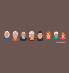 caucasian people head avatar set different vector image
