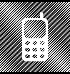 Cell phone sign icon hole in moire vector