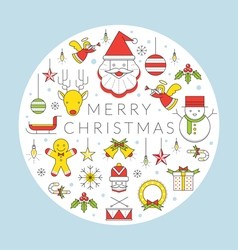 Christmas Line Icons Label vector