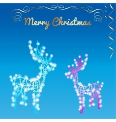 Christmas silhouettes reindeer of the garland vector