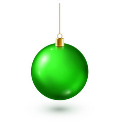 christmas tree shiny green ball new year vector image