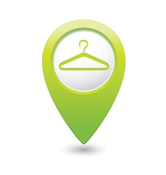 Clothers hanger icon pointer green vector