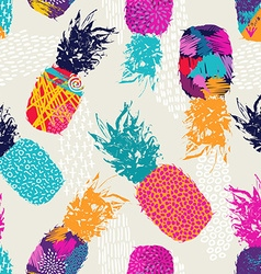 Color retro pineapple seamless pattern for summer vector image