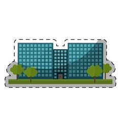 Colorful city office building with trees vector