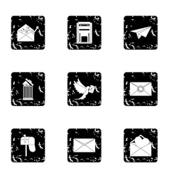 Communication icons set grunge style vector