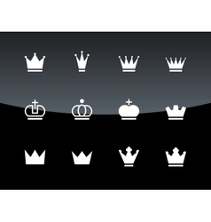 Crown icons on black background vector image