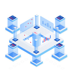 Data analytics platform isometric vector