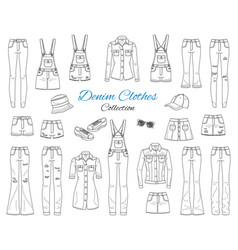 denim clothes collection sketch vector image