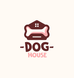 Dog house home with bone logo template vector