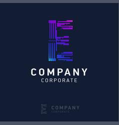 e company logo design with visiting card vector image