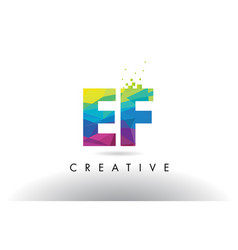 Ef e f colorful letter origami triangles design vector