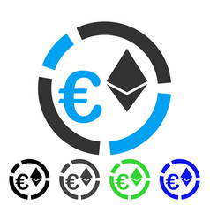 Euro ethereum diagram flat icon vector