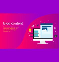 flat design content writting blogging vector image