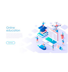 flat design isometric concept online education vector image
