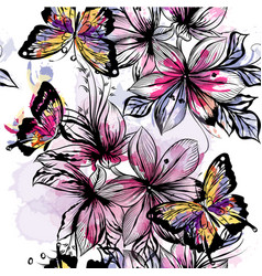 Floral seamless wallpaper pattern with butterflies vector