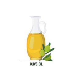 fresh virgin olive oil glass bottle vegetable oil vector image