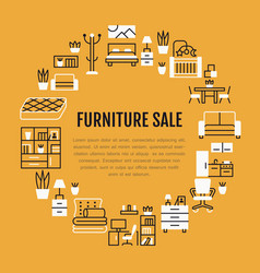 Furniture sale banner with flat line vector