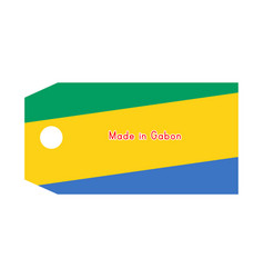 gabon flag on price tag with word made in gabon vector image