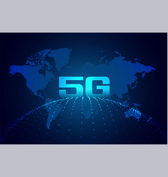 Global 5g technology digital network background vector
